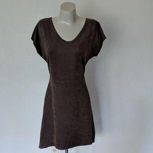 Short sleeve suede festival dress